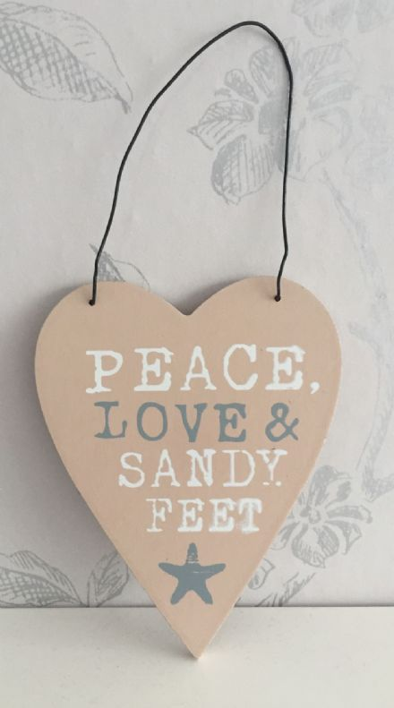 Peace Love & Sandy Feet  Heart Plaque